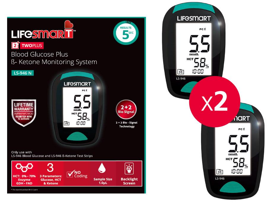 2x Free LifeSmart Blood Glucose & Ketone Monitoring Systems (Pharmacy only)